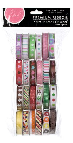 Sale!! American Crafts Ribbon Value Pack 24 1-Yard Spools, Seasonal 1