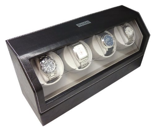 Heiden Quad Watch Winder in Black Leather