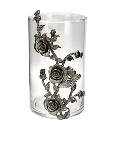 Short Glass Hurricane with a Metal Rose Design, Clear/Antique Silver