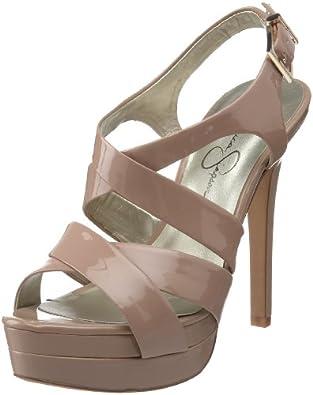 Jessica Simpson Women's Endo High Heel Strappy Sandal,Nude Patent,10 M US