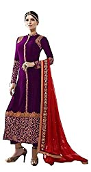 Beautifull Purple Colored Embroidery Straight Suit