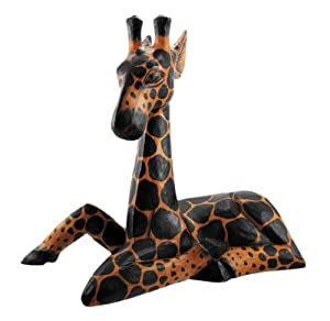 Hand Carved Wooden Baby Giraffe Statue