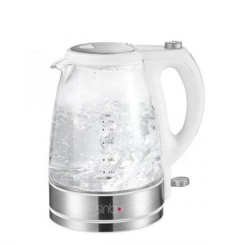 glas wasserkocher 1 7 liter mit led beleuchtung sinbo glas edelstahl wasserkocher wasserkocher. Black Bedroom Furniture Sets. Home Design Ideas