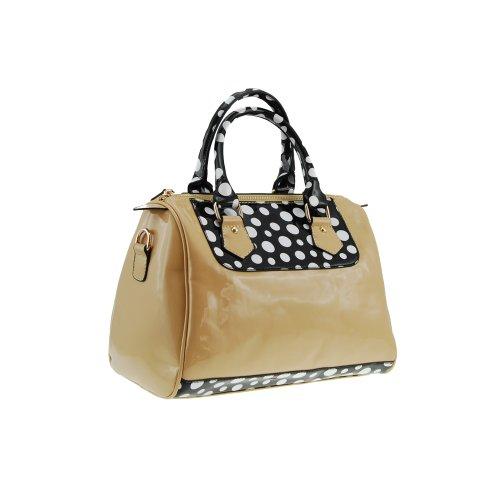 Vieta Medium Size Vintage Polka Dot Print Satchel Tote Handbag Purse, Colors Available front-204623
