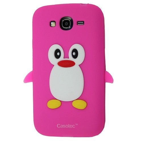 Casotec Penguin Silicone Jelly Back Case Cover for Samsung Galaxy Grand i9082 - Deep Pink  available at amazon for Rs.125