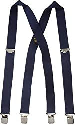 Welch Mens Elastic Clip-End 1 1/2 Inch Double Face Suspenders (Tall Available), Regular, Navy