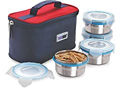 Steel Lock HL- 1251 Airtight 4 pc 200 ml each Lock Steel Lunch / Meal/Tiffin Box with Insulated bag
