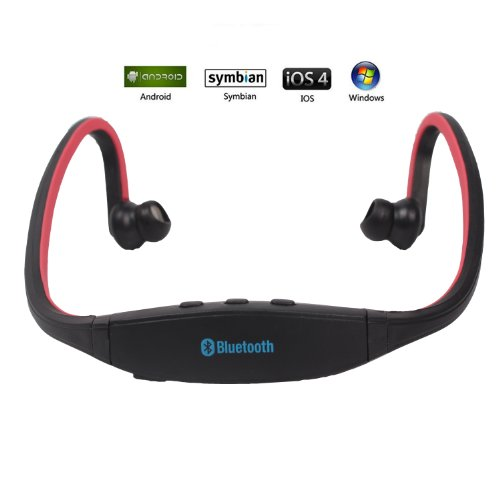 Sports Bluetooth Stereo Music Earphone Headset For Samsung Galaxy S4 S3 S2 S1 Note 2 And Other Blurtooth Phones --Rechargeable And Portable (Red)