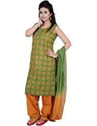 Exotic India Turf-Green And Mustard Salwar Kameez With - Turf Green And Mustard