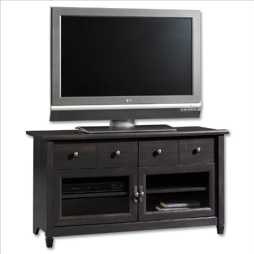 cheap sauder edge water panel tv stand in estate black for sale home kitchen in us. Black Bedroom Furniture Sets. Home Design Ideas