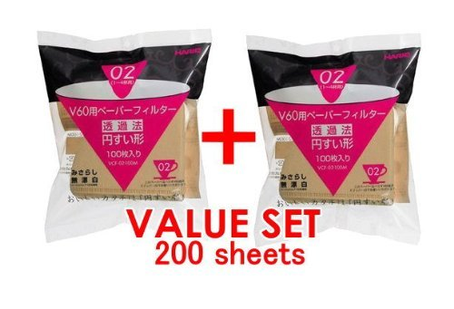 Purchase Hario 02 100 Count Coffee Paper Filter, Natural Value Set of 2 Pack (Total 200 Sheets) with...