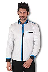 Kivon Men's White Printed Party Wear Slim Fit Casual Shirt