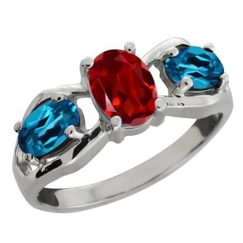 2.00 Ct Oval Red Garnet and London Blue Topaz 18k White Gold Ring