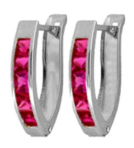 .925 Sterling Silver Hoop Earrings with Imitation Rubies