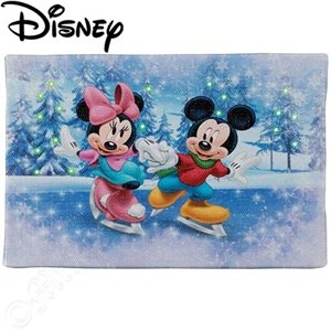 Mr. Christmas Gold Label Illiminart Winter Wonderland Mickey And Minnie Disney Elements 4 X 6 Sawtooth Hook And Easel Back Led Fiber Optic