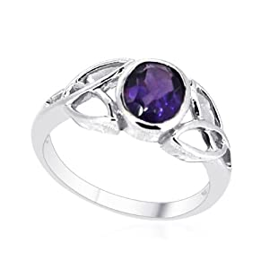 Amethyst Solitaire Ring In Sterling Silver 1.150 Ct. (Size O)