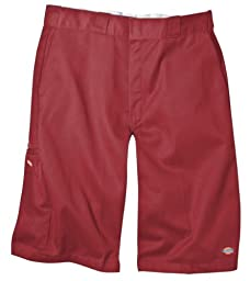 Dickies Men\'s 13 Inch Loose Fit Multi-Pocket Work Short, English Red, 36