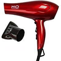 MHD Tourmaline Titanium Lightweight Blow Hair Dryer with 2 Speed and 3 Heat Settings (Red)