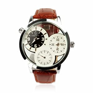 ZLYC Men's Three Small Dial Brown Leather Vintage Watch