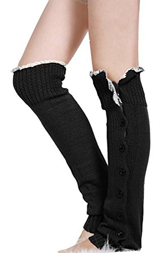 Acevog Women's Knee High Knit Lace Trim Leg Warmers Boot Socks 7 Colors
