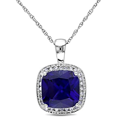 10k White Gold Created Sapphire and Accent Diamond Pendant (0.1 Cttw, G-H Color, I2-I3 Clarity), 17""