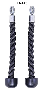 Tricep Ropes- Single Grip Pair (2 Ropes) w/ Free Black Snap Links by Ader Sporting Goods