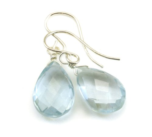 Sterling Silver Aquamarine Quartz Earrings Teardrop Drop Dangle
