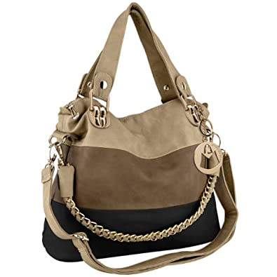 MG Collection Ece Tri-Tone Hobo Handbag, Black, One Size