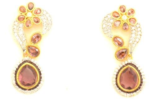 Fashion Balika Fashion Jewelry Gold-Plated Dangle & Drop Earring For Women Pink-BFJER104 (Multicolor)