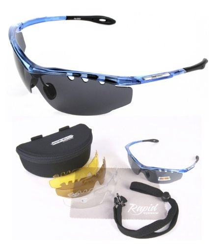 'Ace Cycle' TR90 Lightweight Polarized Sunglasses With Interchangeable Vented Lenses For Cycling, Running, Sailing, Rowing, Shooting, Skiing Etc.