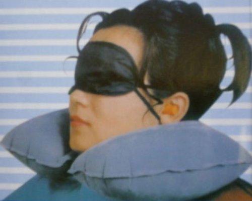 2 x Grey Travel / Flight Kit - Inflatable Neck Pillow / Eye Mask / Ear Plugs