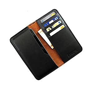 i-KitPit : Genuine Leather Wallet Flip Pouch Case For Maxx AX8 NOTE II (BLACK)