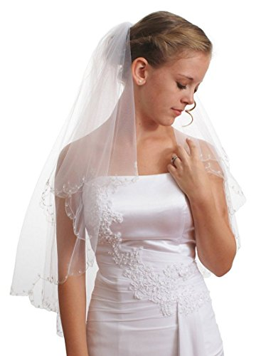 Gogh 2T 2 Tier Silver Lined Beaded Edge Fingertip Length Bridal Wedding Veil 09 (White)