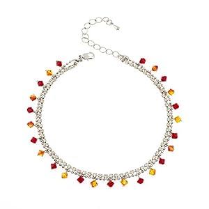 Rhodium Plated Brass Orange Red Faceted Swarovski Crystal Cubic Zirconia CZ Anklet Ankle Bracelet