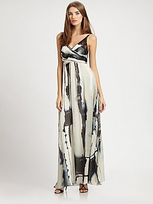 Nicole Miller Silk Maxi Dress White/black