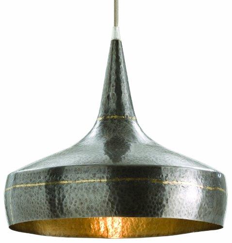 Arteriors 42414 Mason Wide Hammered Iron Pendant, Dark Silver