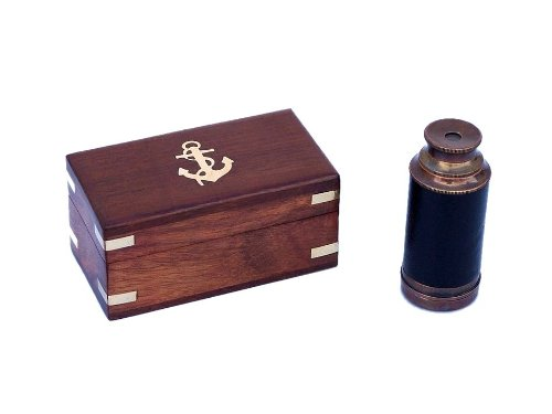 """Handcrafted Nautical Decor Scout'S Antique Copper/Leather Spyglass 7"""" Telescope With Rosewood Box, Copper front-995954"""