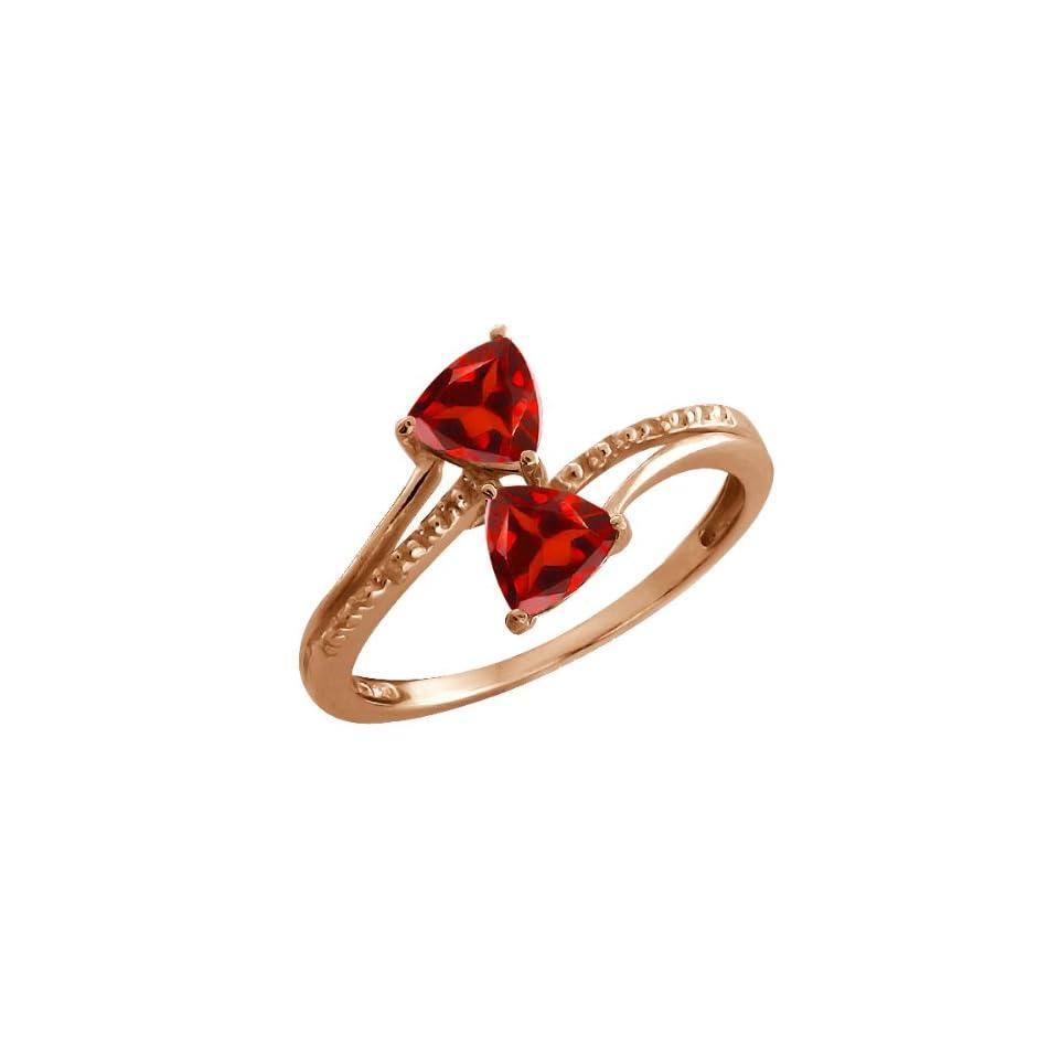 1.08 Ct Trillion Red Garnet Gemstone Rose Gold Plated Sterling Silver Ring