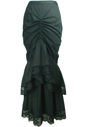 Gothic long fishtail black skirt – Victorian skirt – S