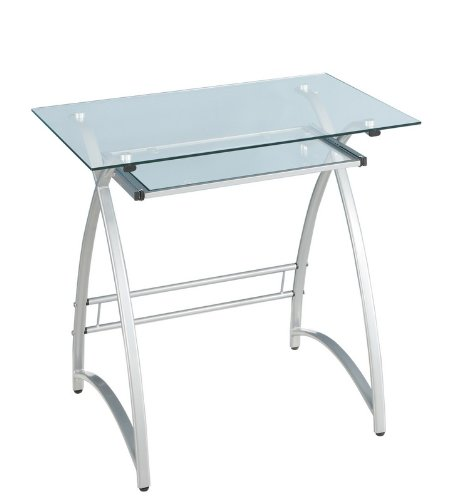Buy Low Price Comfortable Small Glass Computer Desk (Clear/Silver) (30″H x 32″W x 20″D) (B0038U0GKS)