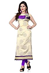 RadadiyaTRD Purpal & Cream Georgette Semi-Stitched Kurti (Purpal_Cream_808)