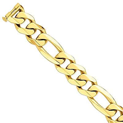 14k 27mm Polished Heavy Figaro Link Chain Necklace -20 inch