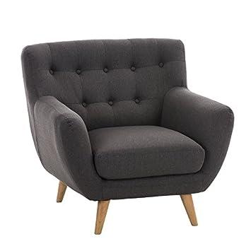 CLP Polster-Sessel RIHANNA mit Stoffbezug, stilvolle Zierknöpfe und dicke Polsterung, langlebiger Sitzkomfort dunkelgrau
