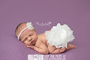 *THIS LISTING IS FOR THE DIAPER COVER ONLY*Chalk Ivory Chiffon Diaper Cover Newborn Photography Props 0-1 Month - Newborn Photo Props, Bloomers, Baby Props