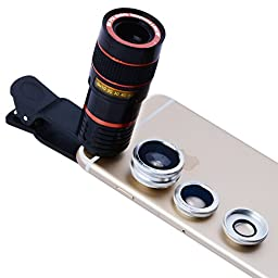 Apexel 4 in 1 Camera Lens 8x Telescope Lens/ Silver Fisheye/ Wide Angle + Macro Lens with Universal Clip for iPhone iPad Samsung Galaxy Sony LG Motorola HTC