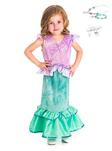 Little Adventures Mermaid Princess Dress Up with Necklace, Bracelet & Hairbow Age 3-5