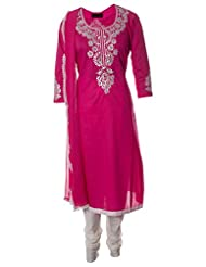 AzraJamil Fine Cotton Pink Sequined Hand Work Traditional Churidar Suit For Women