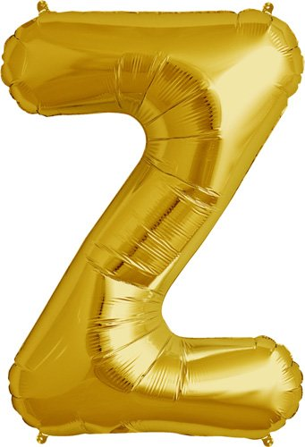 Letter Z - Gold Helium Foil Balloon - 34 inch