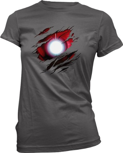 Damen T-Shirt Iron Man - Marvel Comics - Kostüm - Effekt - Anthrazit - 38/M
