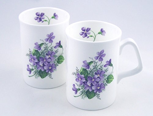 Fine English Bone China Mugs - Set Of Two - Wild Violet Chintz - Made In England